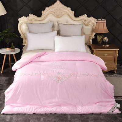 2020新款绣花夏凉被蚕丝被 150x200cm蚕丝被 纯美时光-粉色
