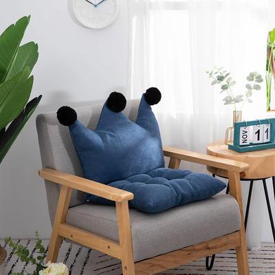 2019新款可愛學生椅子坐墊純色桌椅一體靠墊飄窗靠背沙發小靠背小抱枕 40*40*40 深藍