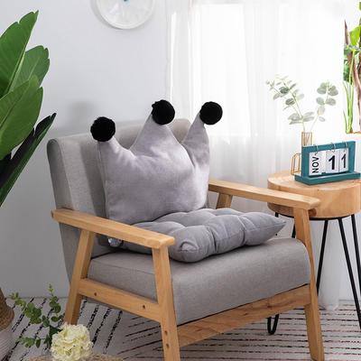 2019新款可愛學生椅子坐墊純色桌椅一體靠墊飄窗靠背沙發小靠背小抱枕 40*40*40 銀灰