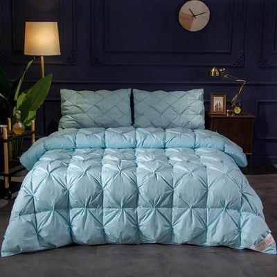 (总)2019冬被新品全棉扭花羽绒被 200X230cm(7.8斤) 蓝色