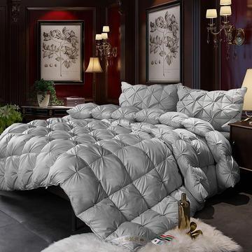 2018冬被新款--80支柔赛丝扭花羽绒被(市场最低价) 150*200cm(无现货)(5斤) 银灰