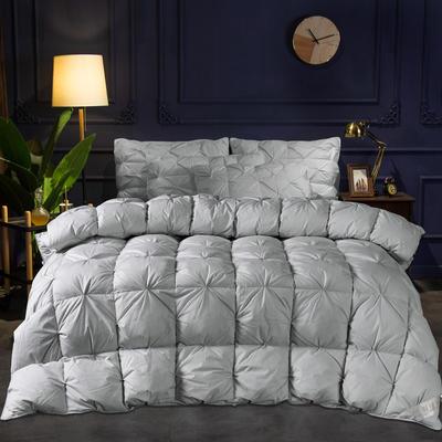 (总)2019冬被新品全棉扭花羽绒被 150x200cm(6斤) 灰色