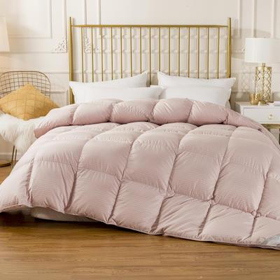 2020新款100支纯棉段条羽绒被 200X230cm95鸭绒6.5斤 条纹豆沙