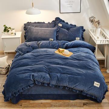 2018新款 纯色加厚宝宝绒四件套 1.5m(5英尺)床 水墨蓝