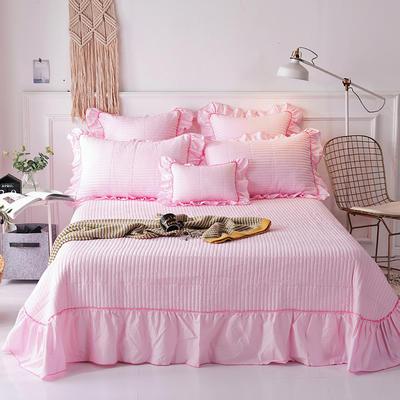 2018新款-全棉可水洗绗缝床盖三件套 245*250*1 粉色
