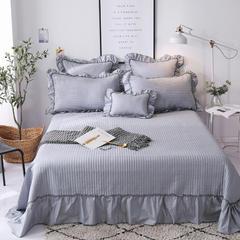 2018新款-全棉可水洗绗缝床盖三件套 245*250*1 灰色