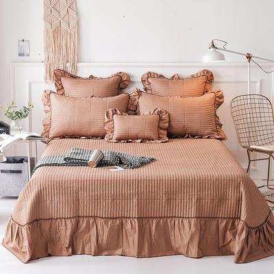 2018新款-全棉可水洗绗缝床盖三件套 245*250*1 巧克力色