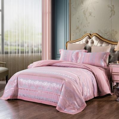 2019新款-全棉貢緞提花四件套 床單款1.8m(6英尺)床 道格拉斯(玫瑰金)