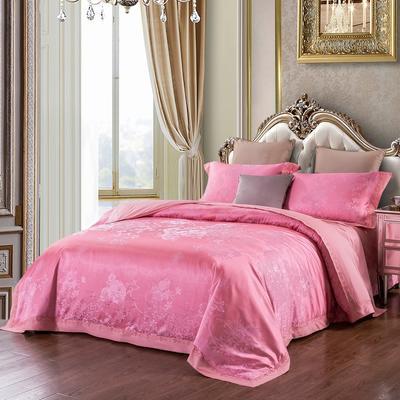 2019新款-全棉貢緞提花四件套 床單款1.8m(6英尺)床 花語凝香(胭脂紅)
