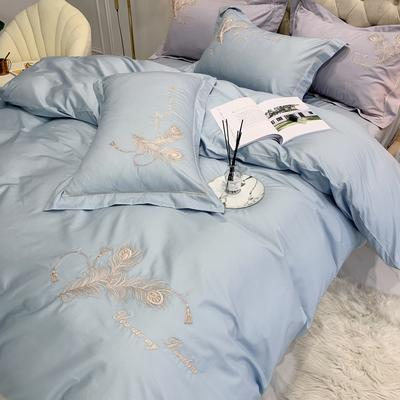 2020新款-50S匹马棉刺绣四件套-雀羽系列 床单款1.5m(5英尺)床 雀羽蓝