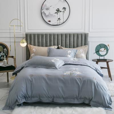 2020新款-清风徐来全棉四件套 床单款1.5m(5英尺)床 清风徐来(灰)