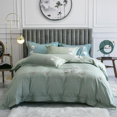 2020新款-清风徐来全棉四件套 床单款1.5m(5英尺)床 清风徐来(绿 )