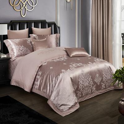 2019新款-全棉贡缎提花四件套床盖款 床单款1.5m(5英尺)床 伯爵盛典