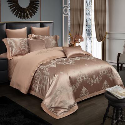 2019新款-全棉贡缎提花四件套床盖款 床单款1.5m(5英尺)床 伯爵盛典 咖驼