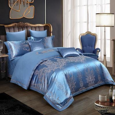2019新款-全棉贡缎提花四件套床盖款 床单款1.5m(5英尺)床 贵族风范宝兰
