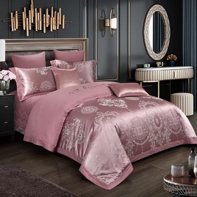 2019新款-全棉贡缎提花四件套床盖款 床单款1.5m(5英尺)床 奢华贵族 豆沙