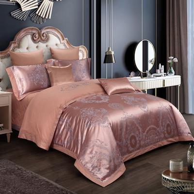 2019新款-全棉贡缎提花四件套床盖款 床单款1.5m(5英尺)床 奢华贵族 富贵金
