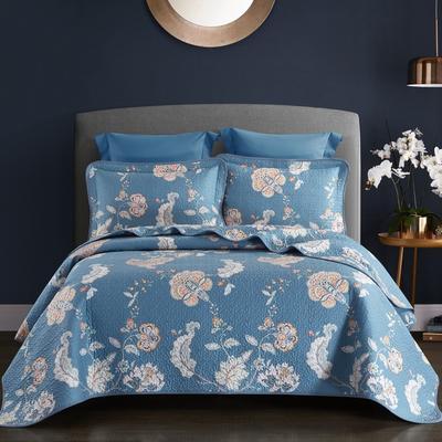 2019新款-双面全棉床盖三件套 230cmx250cm 林间晨曲蓝