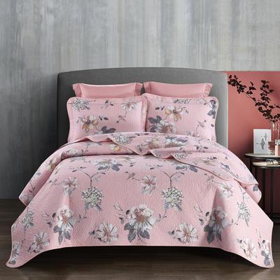 2019新款-双面全棉床盖三件套 230cmx250cm 蔷薇花语