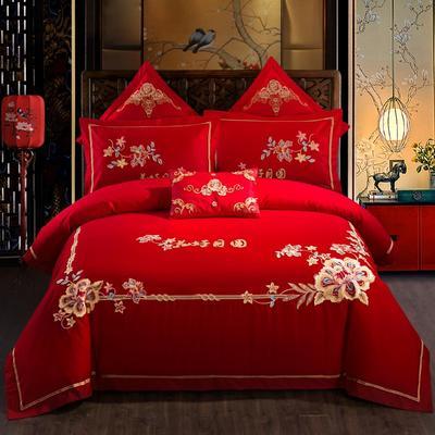 全棉刺绣婚庆四件套、多件套 标准床单四件套(1.5m-1.8m床) 花好月圆