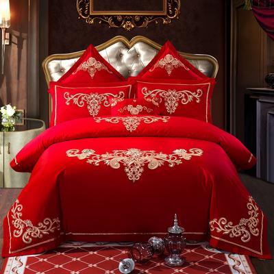 全棉刺绣婚庆四件套、多件套 标准床单四件套(1.5m-1.8m床) 金色盛典