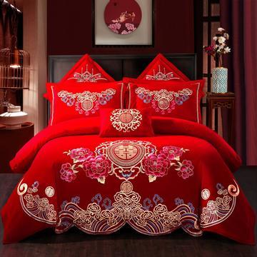 全棉刺绣婚庆四件套、多件套 标准床单四件套(1.5m-1.8m床) 世纪之恋