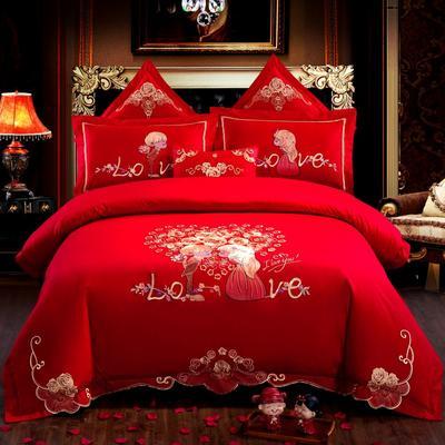 全棉刺绣婚庆四件套、多件套 标准床单四件套(1.5m-1.8m床) 幸福牵手