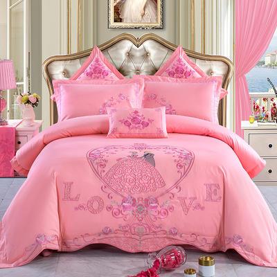 全棉刺绣婚庆四件套、多件套 标准床单四件套(1.5m-1.8m床) 嫁给我吧(玉色)