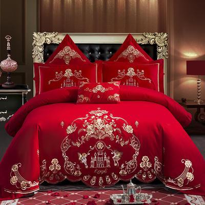 全棉刺绣婚庆四件套、多件套 标准床单四件套(1.5m-1.8m床) 梦幻城堡