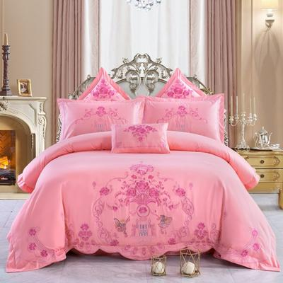全棉刺绣婚庆四件套、多件套 标准床单四件套(1.5m-1.8m床) 梦幻城堡(玉色)