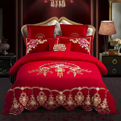 全棉刺绣婚庆四件套、多件套 标准床单四件套(1.5m-1.8m床) 曼妙情丝
