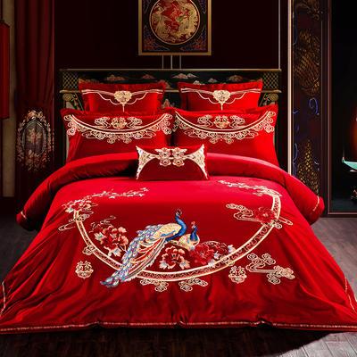 60s长绒棉贡缎提花绣花婚庆多件套(床盖式) 1.5m/1.8m床四件套 鸾凤和鸣