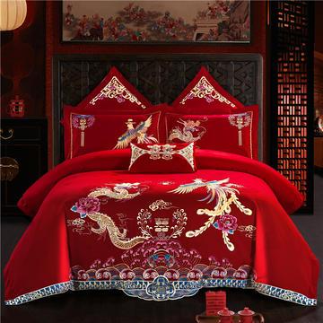 60s长绒棉贡缎提花绣花婚庆多件套(床盖式)
