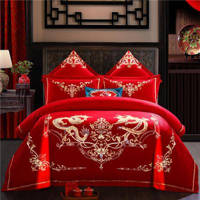 2019全棉刺绣婚庆四件套、多件套 标准床单四件套(1.5m-1.8m床) 千禧龙凤