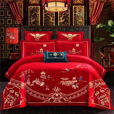 2019全棉刺绣婚庆四件套、多件套 标准床单四件套(1.5m-1.8m床) 百子临门