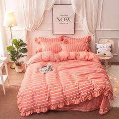 2018新款公主风花边款针织棉四件套 1.5m(5英尺)床 轨迹-玉