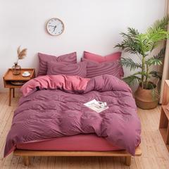 2018新款简约风针织棉四件套 1.8m(6英尺)床 往日情深-红