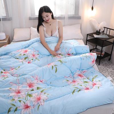磨毛印花四季被冬被 150x200cm三斤 百合蓝