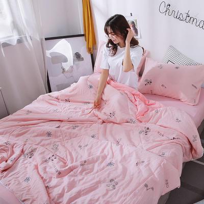 2019新款 棉线花边亲肤水洗棉夏被 夏被 110x150cm 粉红朵朵