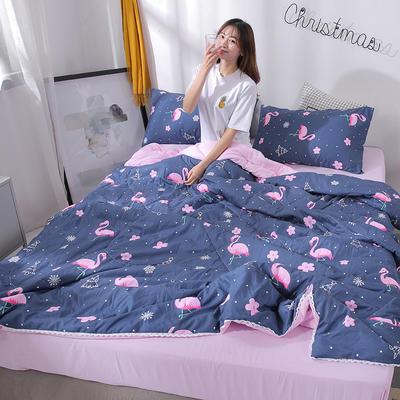 2019新款 棉线花边亲肤水洗棉夏被 夏被 150x200cm 火烈鸟