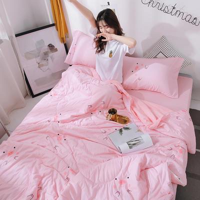 2019新款 棉线花边亲肤水洗棉夏被 圆角床单230cmx230cm 猪年大吉(粉粉猪)