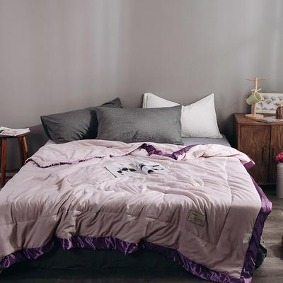 2019款网红款冰丝手工包边水洗棉牛奶夏被 150x200cm 灰紫色