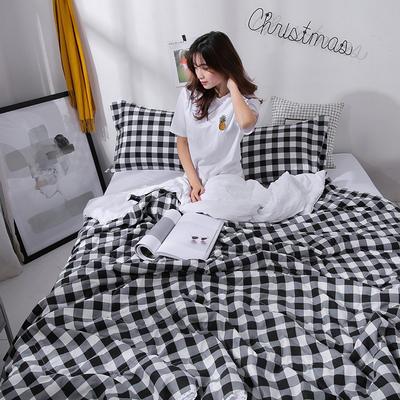 2021新款水洗棉棉线花边夏被 180x200cm 黑白格调