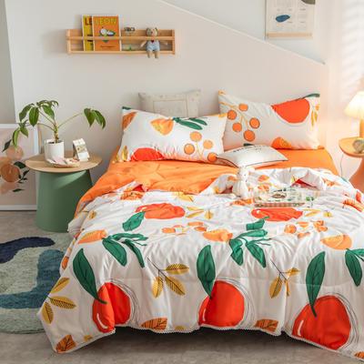 2021新款水洗棉棉线花边夏被 180x200cm 蜜橘