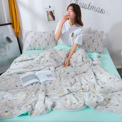 2021新款水洗棉棉线花边夏被 180x200cm 你好小菠