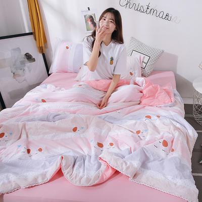 2021新款水洗棉棉线花边夏被 180x200cm 小粉象