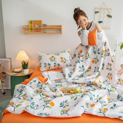 2021新款水洗棉棉线花边夏被 180x200cm 小橘子