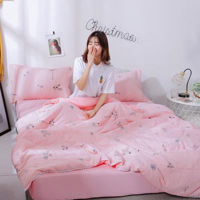 2021新款水洗棉棉线花边夏被 180x200cm 粉红朵朵