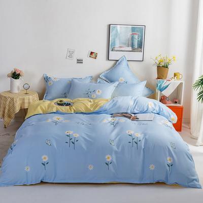 2021新款植物羊绒四件套 1.5m床单款四件套 花语蓝