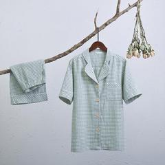 彩纱棉麻短袖短裤套装(女款) 均码 绿